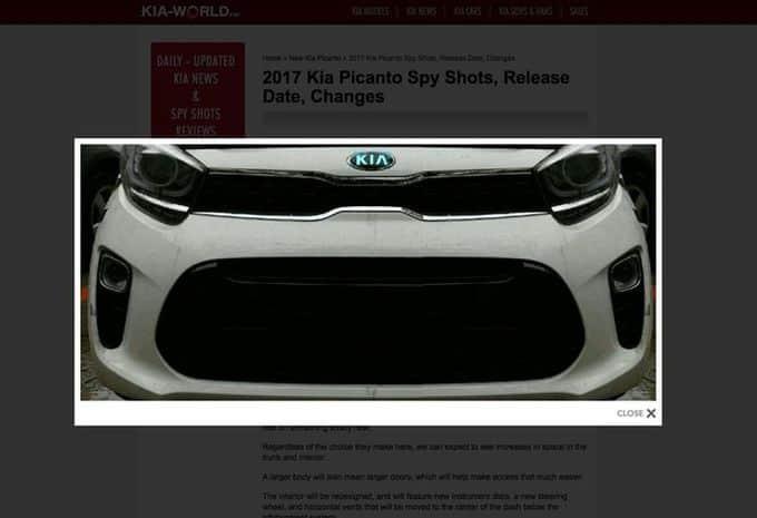 Une image dévoile la face avant de la future Kia Picanto